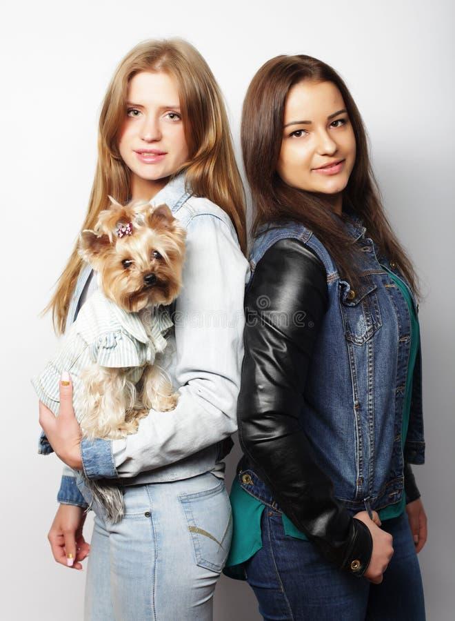Estilo de vida e conceito dos povos: Dois amigos de moça que estão junto e que guardam o cão fotografia de stock royalty free