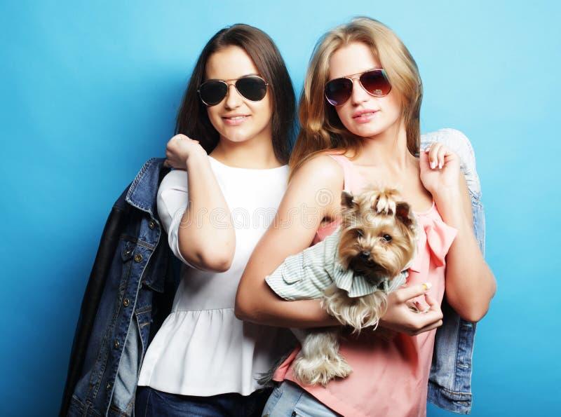 Estilo de vida e conceito dos povos: Dois amigos de moça que estão junto e que guardam o cão imagem de stock royalty free