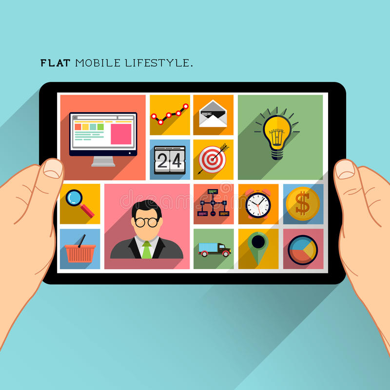 Estilo de vida liso do móbil do projeto ilustração royalty free