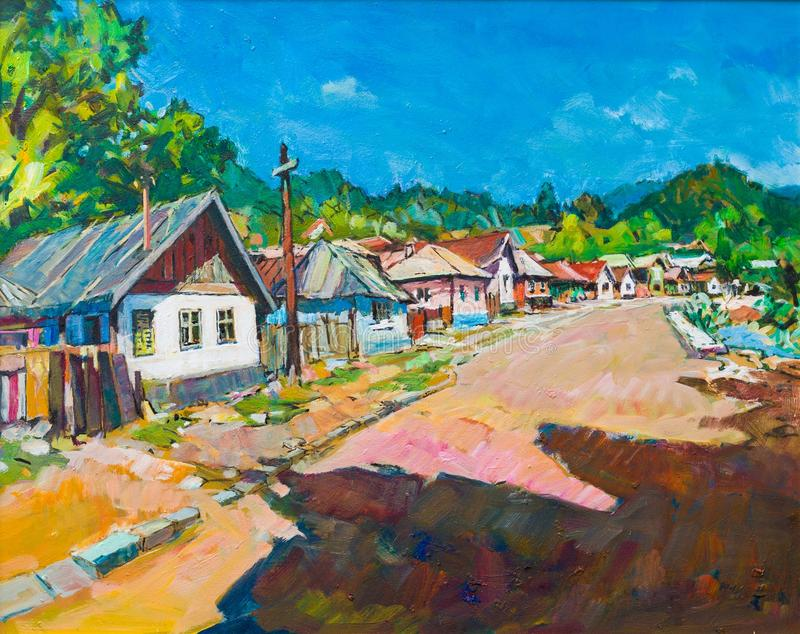 Estilo de vida na pintura velha da Transilvânia fotografia de stock