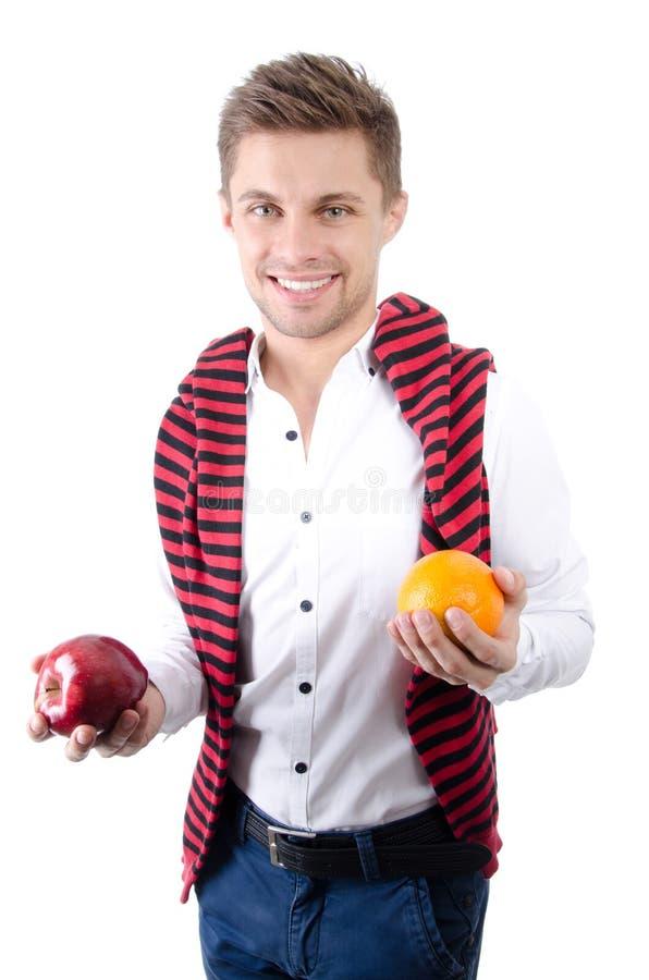 Estilo de vida saudável Boa nutrição Indivíduo e fruto felizes fotografia de stock royalty free