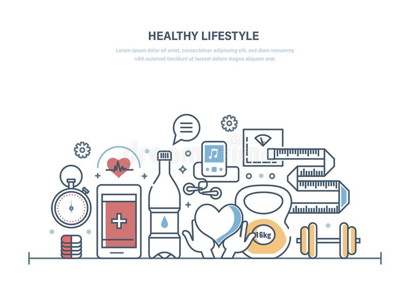 Estilo de vida saudável, cuidados médicos, facilidade médica, ambulância Comer saudável, formulário de manutenção ilustração royalty free