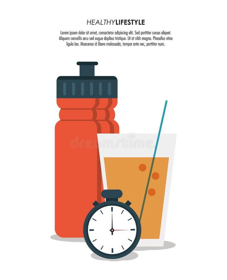 Estilo de vida saudável do cronômetro do suco da garrafa ilustração royalty free