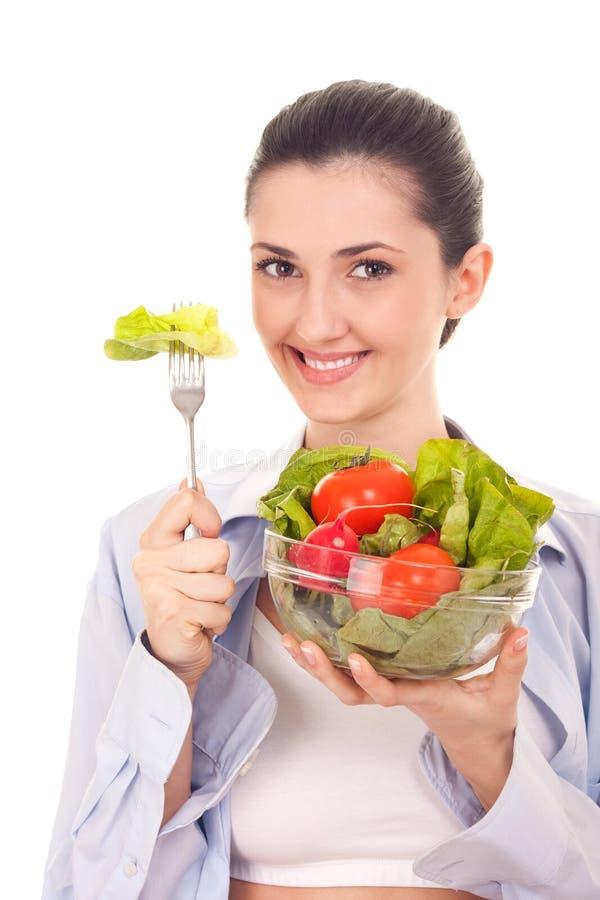 Estilo de vida saudável, mulher com salada fotos de stock