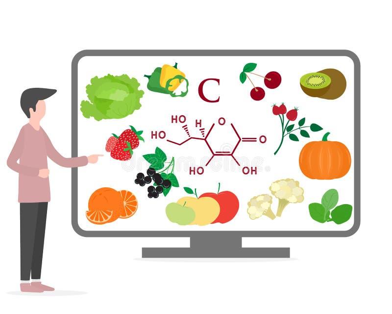 Estilo de vida saud?vel do homem, vitamina apropriada da nutri??o ilustração do vetor
