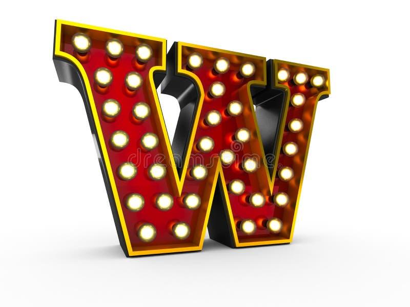 Estilo de W 3D Broadway da letra ilustração stock