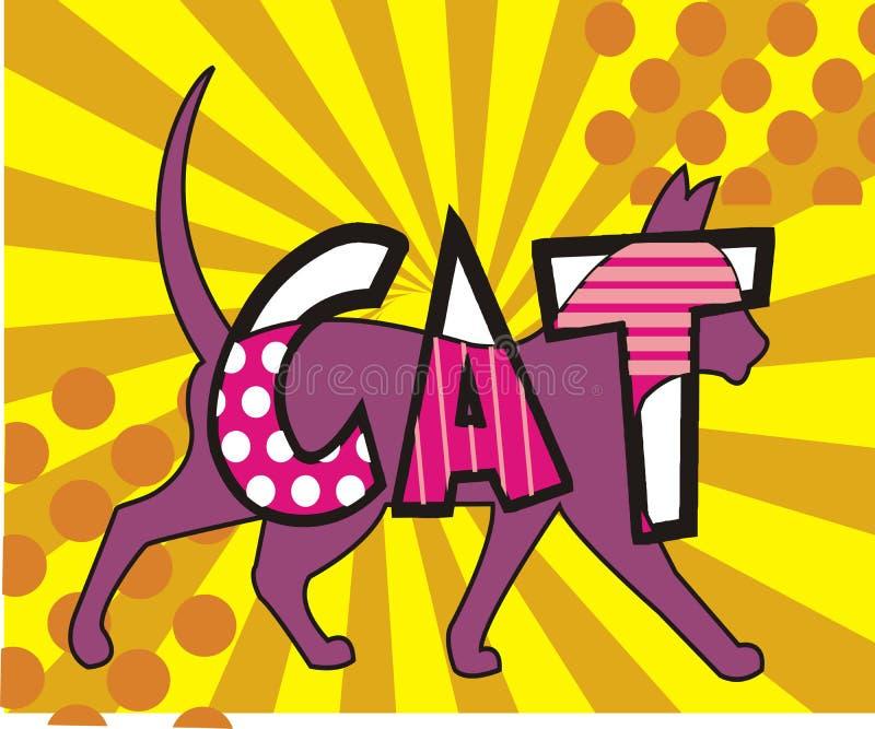 Estilo decorativo del arte pop del fondo del gato con resplandor solar ilustración del vector