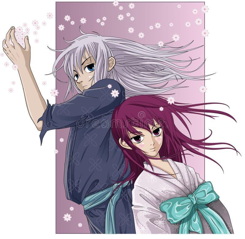Estilo del anime del muchacho y de la muchacha libre illustration