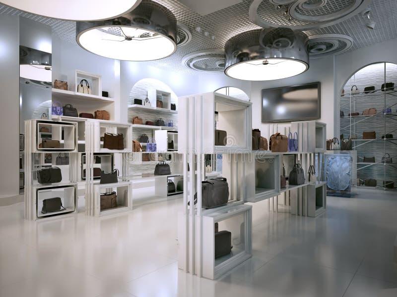 Estilo del art déco del diseño interior de la tienda de lujo con indirectas de Contem stock de ilustración