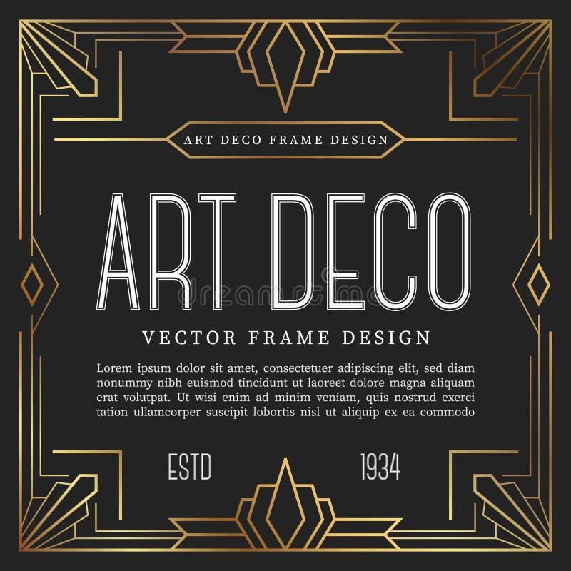 Estilo del art déco del marco del vintage Ilustración del vector libre illustration