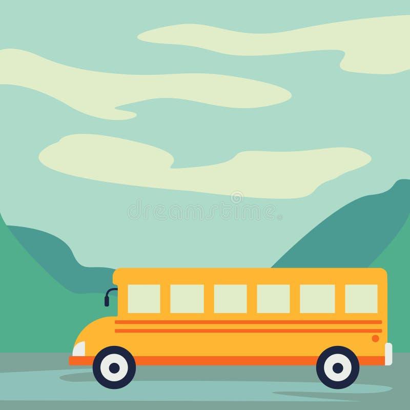 Estilo del arte del papel del autobús escolar que conduce en el camino con el ejemplo hermoso del vector del fondo stock de ilustración