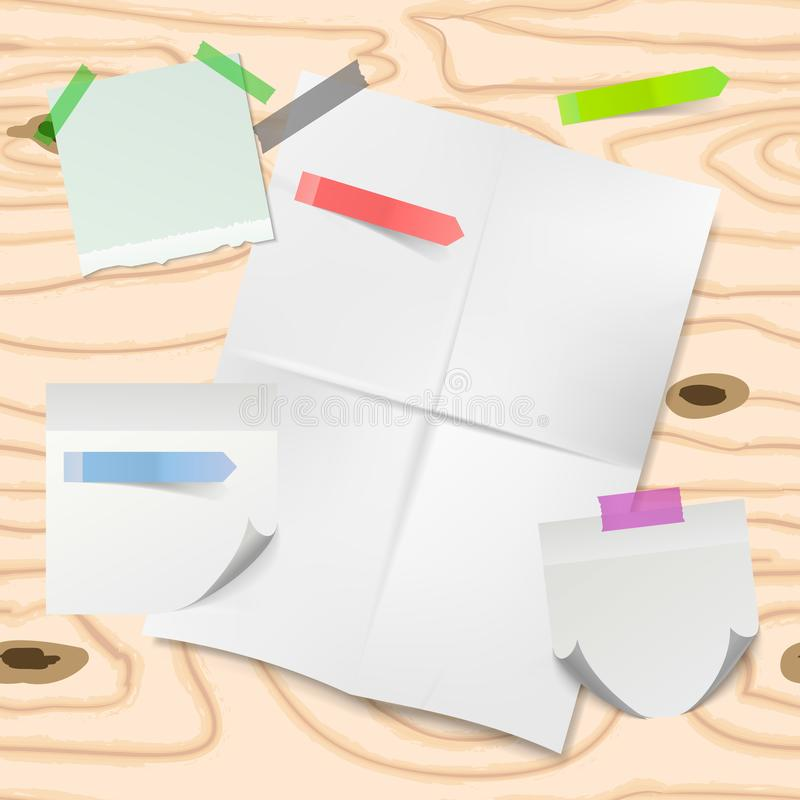 Estilo del arte del papel de la nota de la nota del palillo con los papeles blancos del recordatorio en fondo de madera Fije del  libre illustration