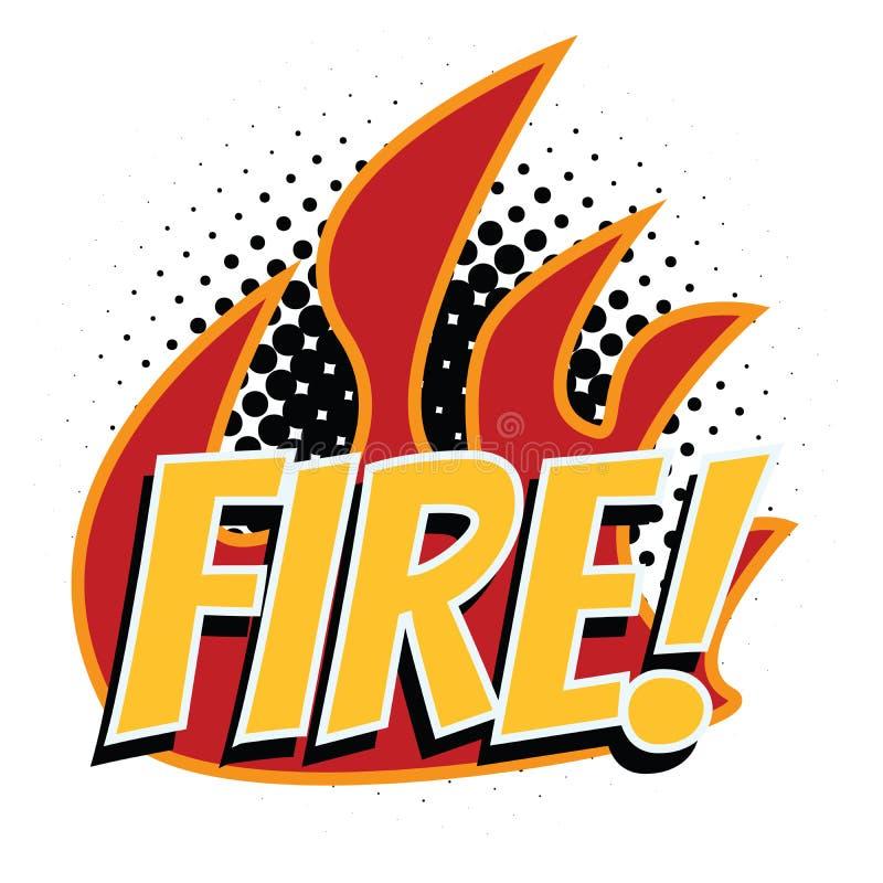 Estilo del arte pop de la palabra del fuego stock de ilustración