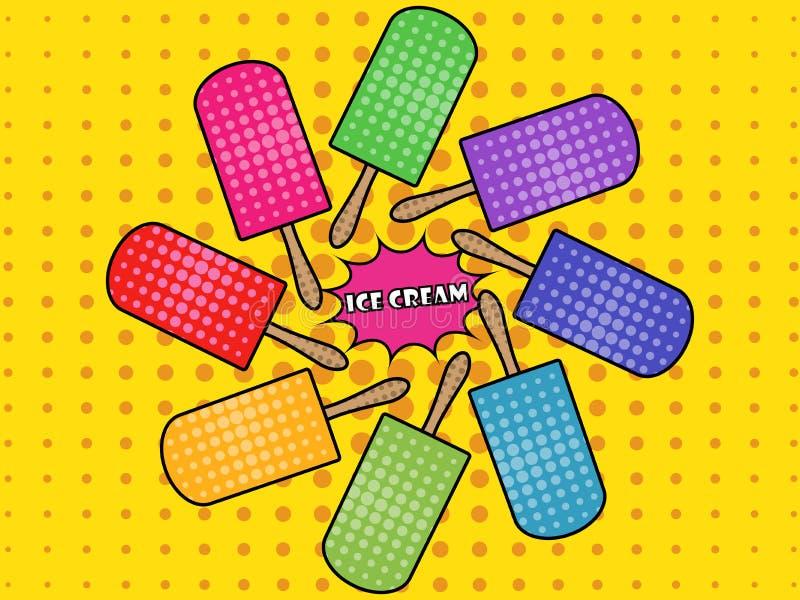 Estilo del arte pop del helado popsicle Helado en un palillo ilustración del vector
