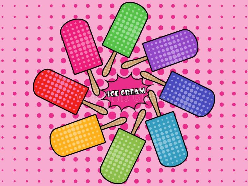 Estilo del arte pop del helado popsicle Helado en un palillo stock de ilustración