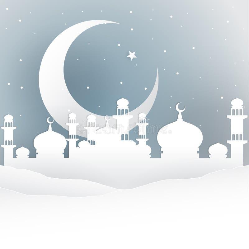 Estilo del blanco de la noche del Ramadán ilustración del vector