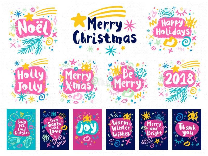 Estilo del bosquejo de la Feliz Año Nuevo de la Feliz Navidad libre illustration