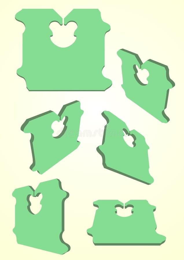 Estilo del color verde 3d de los clips del pan ilustración del vector