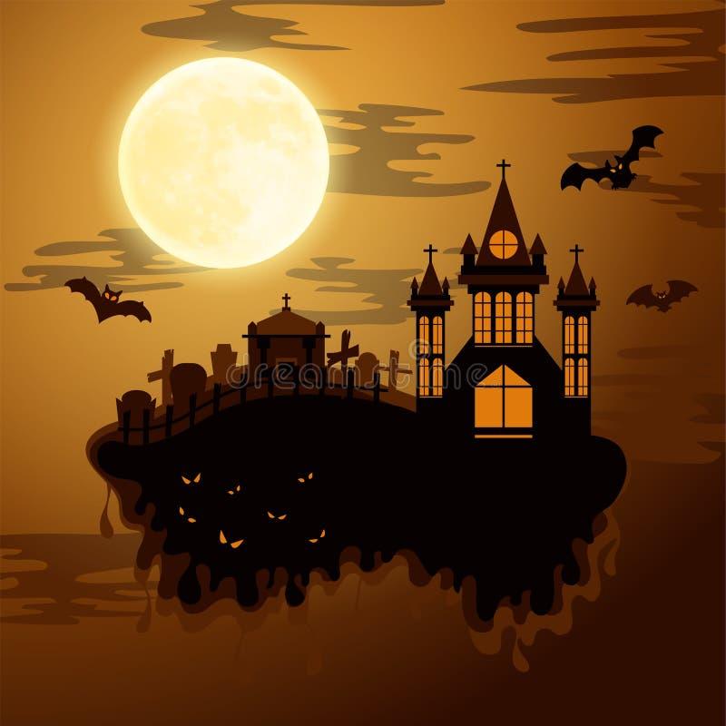 Estilo del corte del papel del feliz Halloween Concepto de cementerio Ilustración del vector stock de ilustración