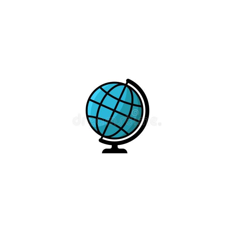 Estilo del ejemplo del logotipo del globo, globo azul aislado del planeta del icono de la tierra en una plantilla del elemento de ilustración del vector