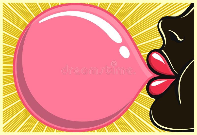 Estilo del ejemplo 80s del bubblegum de la muchacha negra del chicle que sopla ilustración del vector