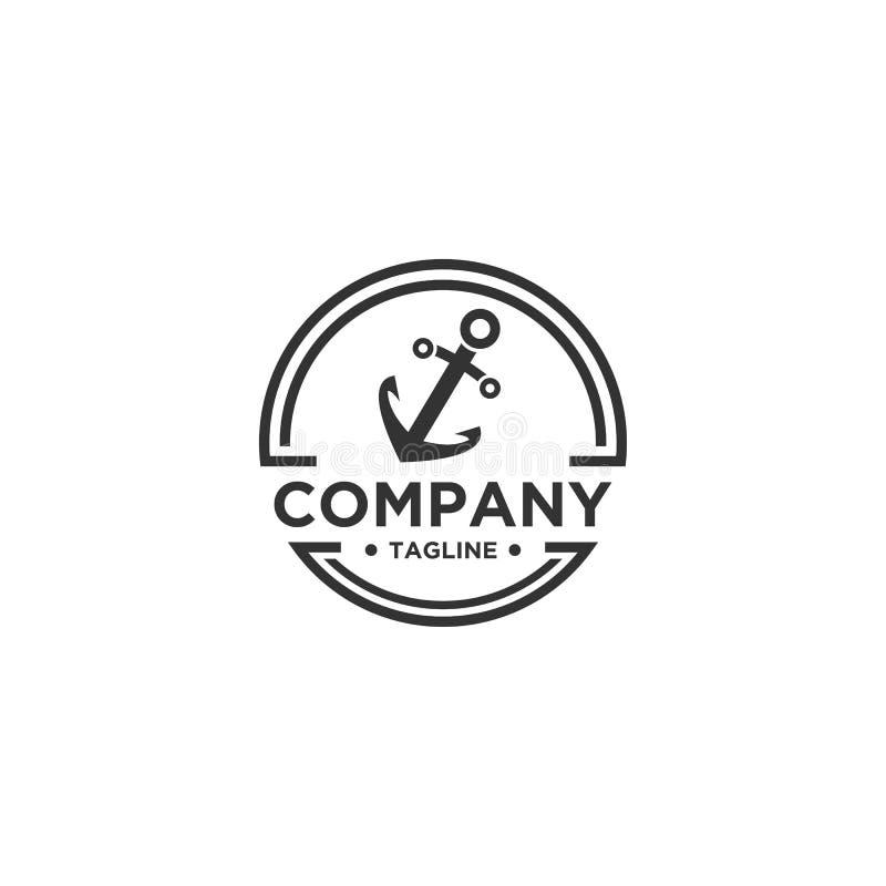 Estilo del emblema de Logo Design Vector del ancla stock de ilustración