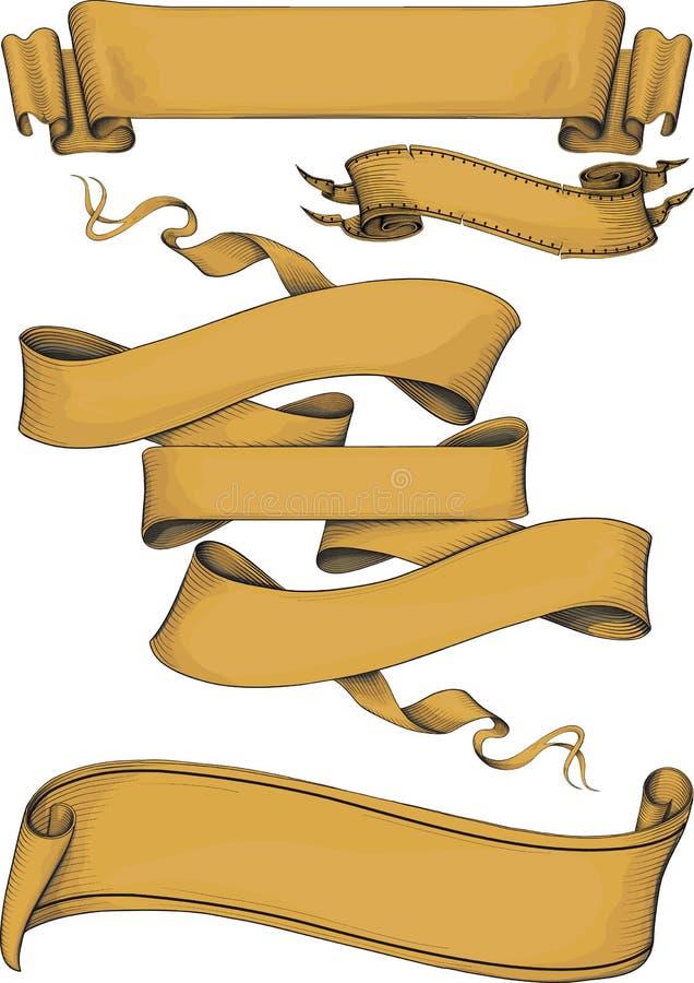 Estilo del engravin de las banderas de la cinta ilustración del vector