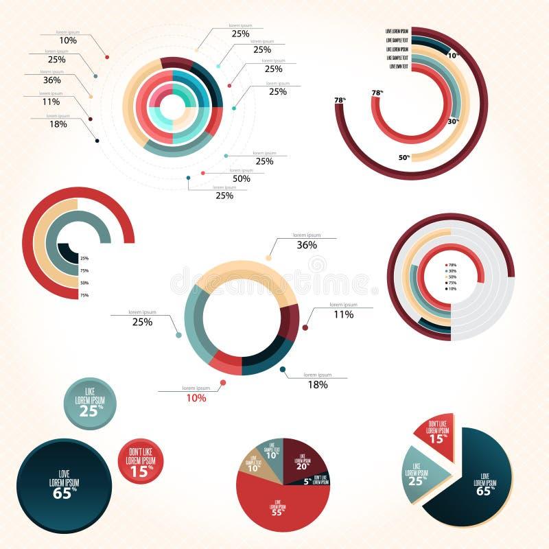 Estilo del gráfico de sectores ilustración del vector