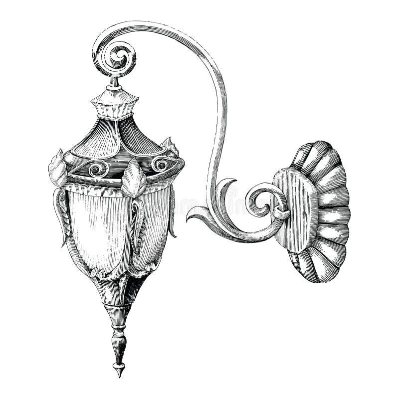 Estilo del grabado del dibujo de la mano de la calle de la lámpara del vintage en el backgr blanco stock de ilustración