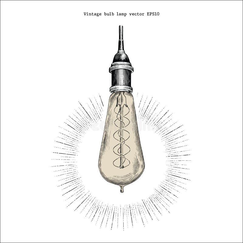 Estilo del grabado del dibujo de la mano de la lámpara del bulbo del vintage stock de ilustración