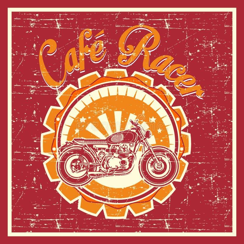 Estilo del Grunge de la insignia del corredor del café - vector libre illustration