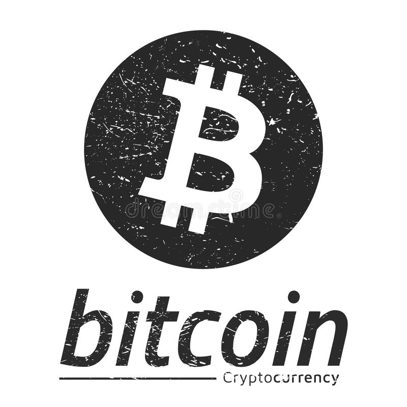 Estilo del grunge del logotipo de Bitcoin Emblema, logotipo, insignia diseño del lat ilustración del vector