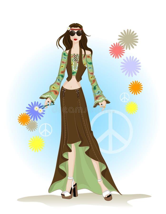 Estilo del hippie de la manera ilustración del vector