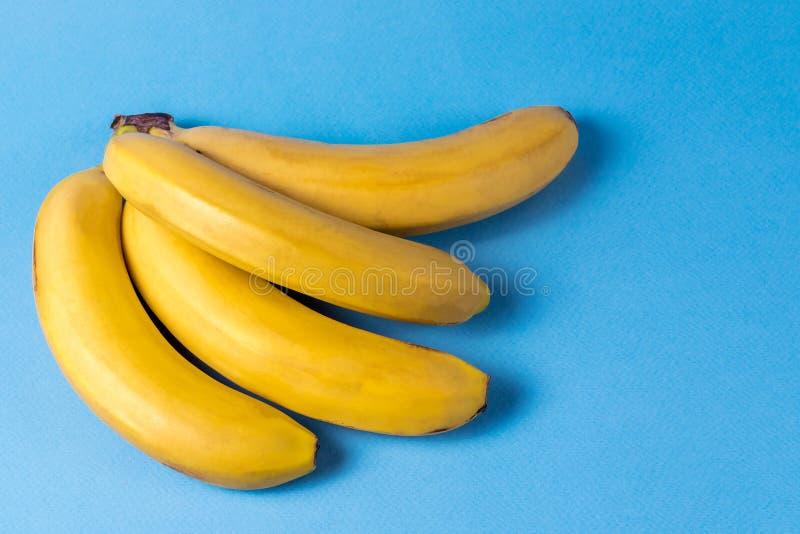 Estilo del minimalismo modelo con el manojo de fruta madura amarilla del pl?tano sobre fondo azul foto de archivo libre de regalías