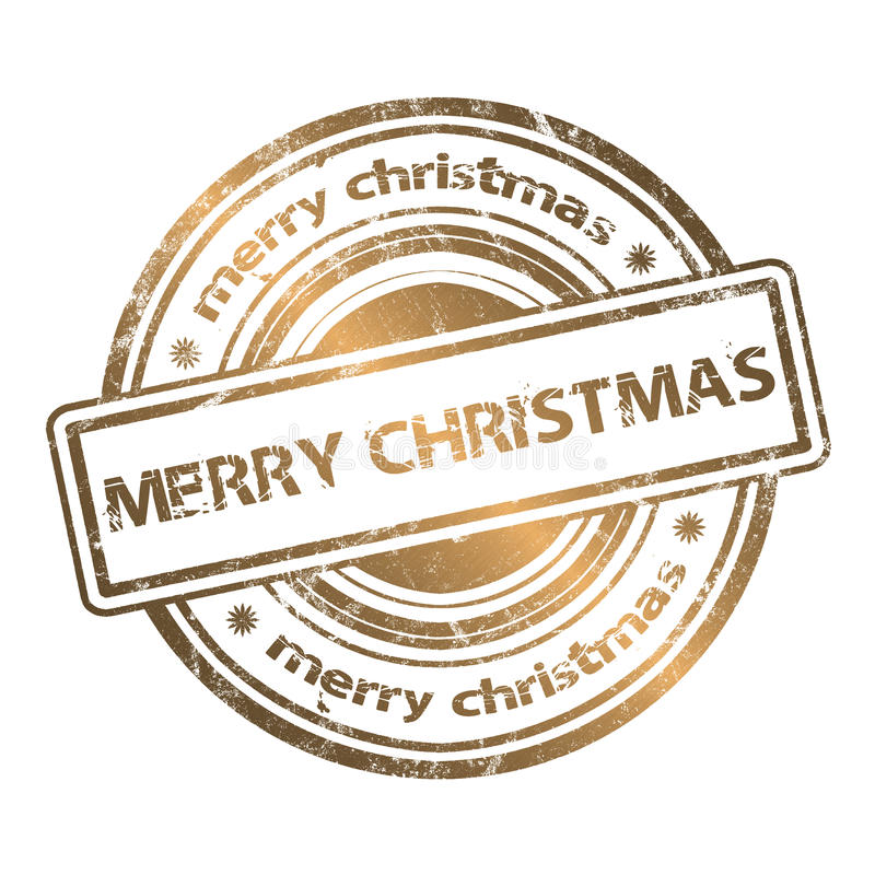 Estilo del oro del sello de goma del Grunge de la Navidad ilustración del vector