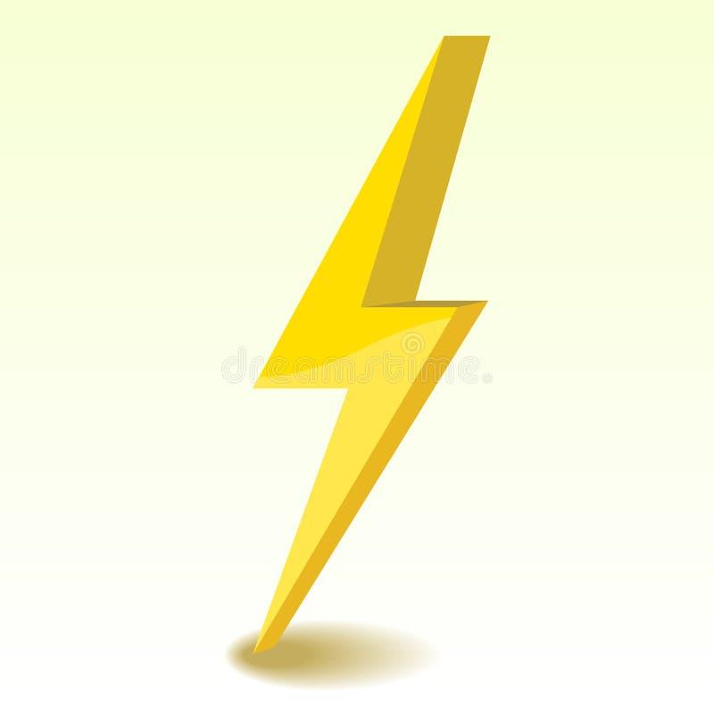 Estilo del símbolo 3D del elemento del trueno stock de ilustración