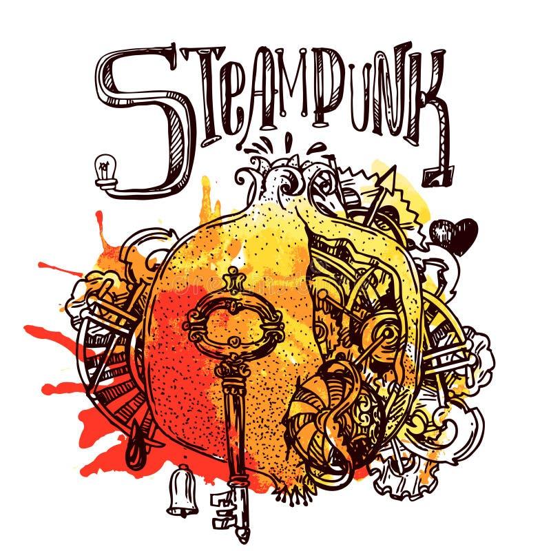 Estilo del steampunk del granate stock de ilustración