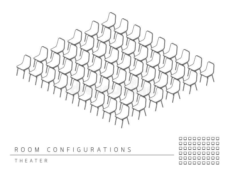 Estilo del teatro de la configuración de la disposición de la disposición de la sala de reunión ilustración del vector