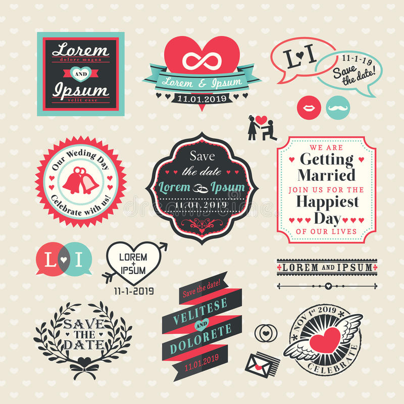 Estilo del vintage de las etiquetas y de los marcos de los elementos de la boda libre illustration