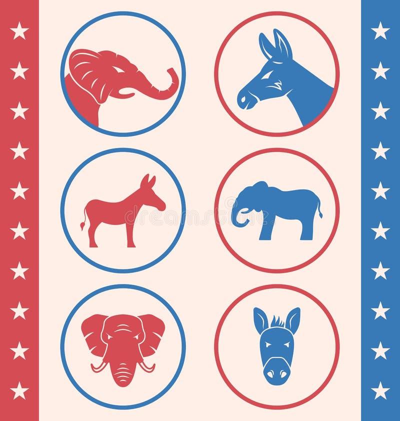 Estilo del vintage del botón para elección de la campaña del voto o de la votación ilustración del vector