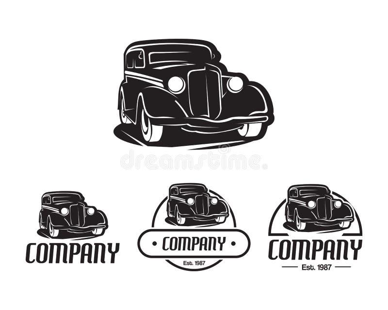 Estilo del vintage del elemento del diseño del vector de la plantilla del logotipo del coche del coche de carreras para el ejempl ilustración del vector