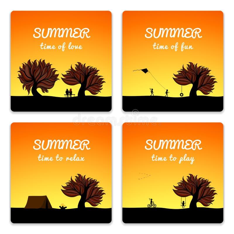 Estilo determinado del paisaje del verano del cartel libre illustration