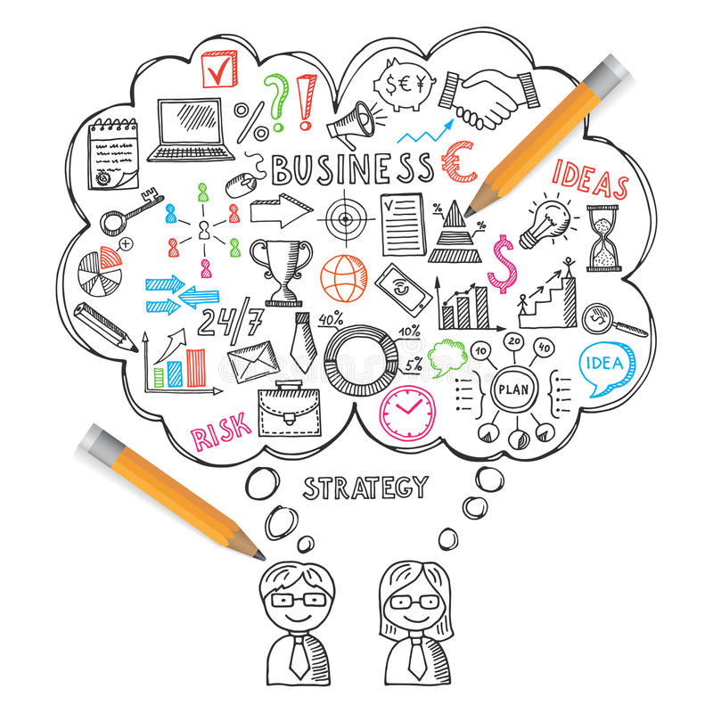 Estilo dibujado de los ejemplos de los conceptos del negocio a disposición Garabatos del vector fijados libre illustration