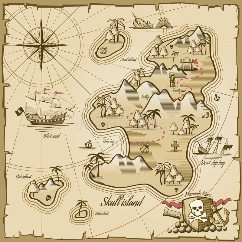 Estilo dibujado del mapa del vector de la isla del tesoro a disposición libre illustration