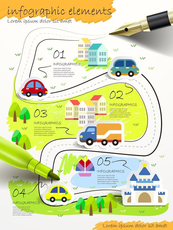 Estilo dibujado mano del collage infographic con la pluma stock de ilustración
