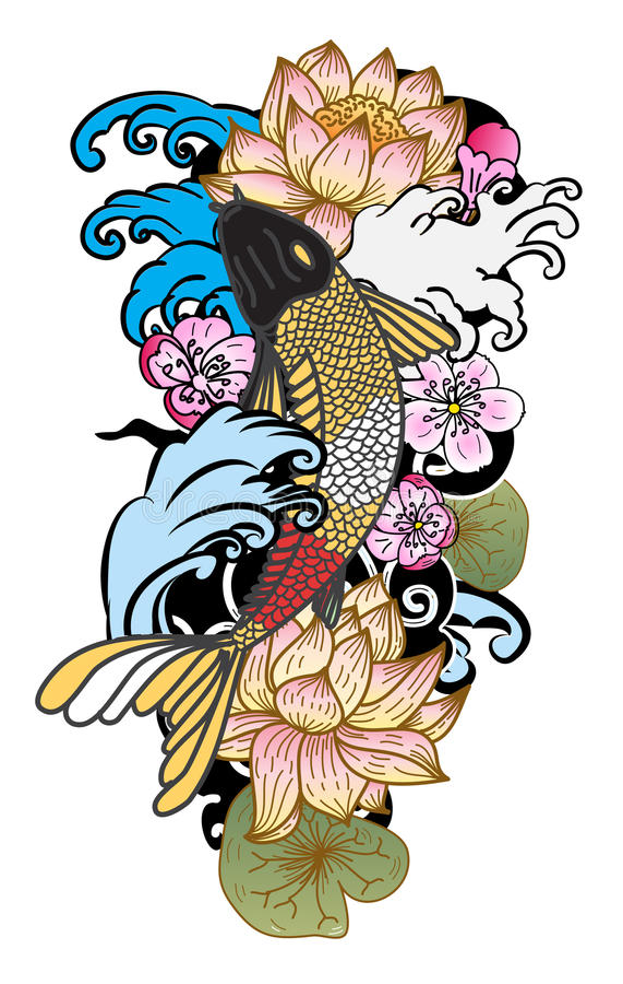 estilo dibujado mano del tatuaje de Koi Carp Japanese del ‰ del ¹ del à libre illustration