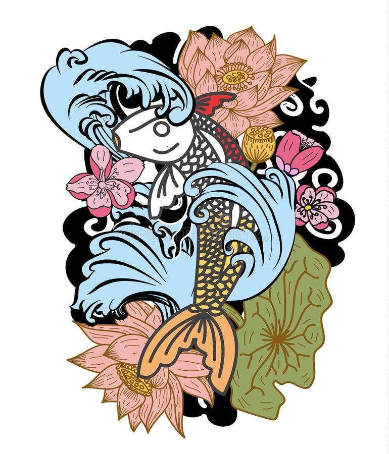 estilo dibujado mano del tatuaje de Koi Carp Japanese del ‰ del ¹ del à ilustración del vector