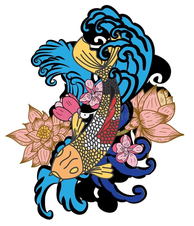 estilo dibujado mano del tatuaje de Koi Carp Japanese del ‰ del ¹ del à stock de ilustración