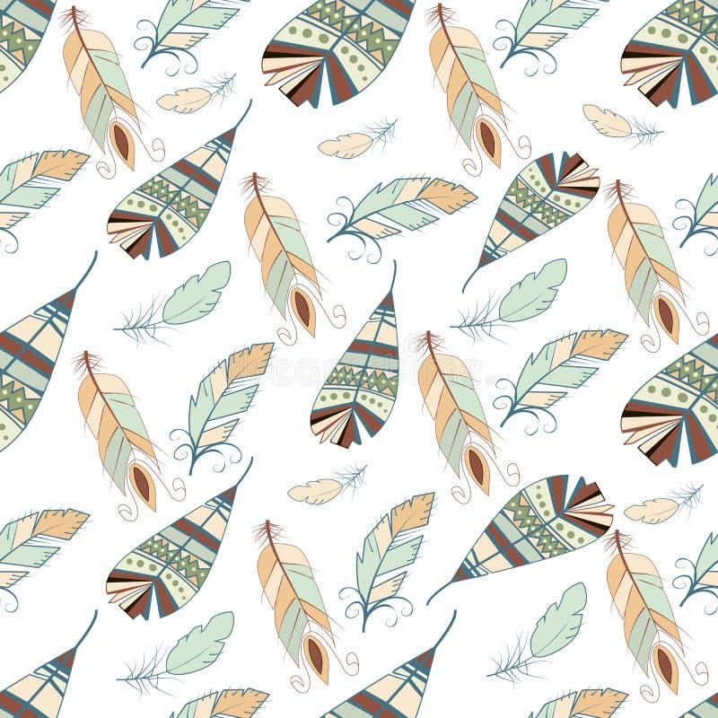 Estilo dibujado mano inconsútil tribal del ejemplo del gráfico de vector del elemento del ala de la naturaleza del pájaro del fon ilustración del vector