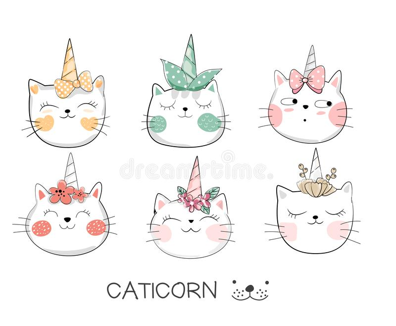 Estilo dibujado mano linda de la historieta del gato del bebé Vector libre illustration